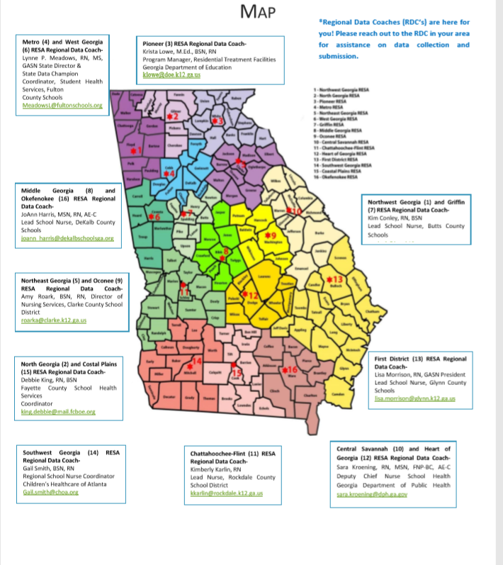 Map Of Georgia Public Health Districts.Regional Data Coach Map